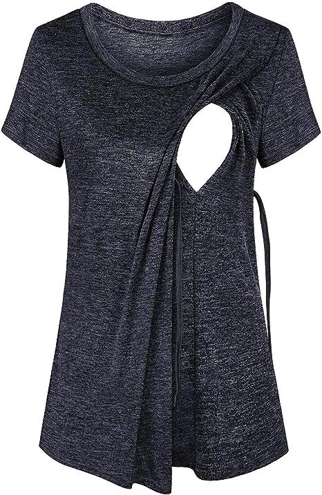 Quinee Womens Short Sleeve Maternity Nursing Tops Raglan Breastfeeding Shirts