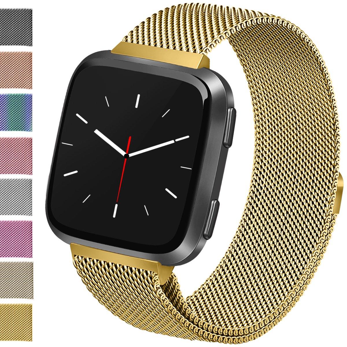 Vancle for Fitbit Versaバンド、ステンレススチールMilaneseメッシュループメタル交換用ブレスレットストラップwithマグネットロックfor Fitbit Versa Smart Watch Small|08 Gold 08 Gold Small B07C4KVNND