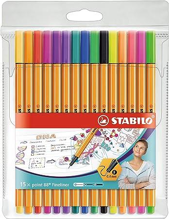 Rotulador punta fina STABILO point 88 - Estuche con 15 colores (5 fluor): Amazon.es: Oficina y papelería
