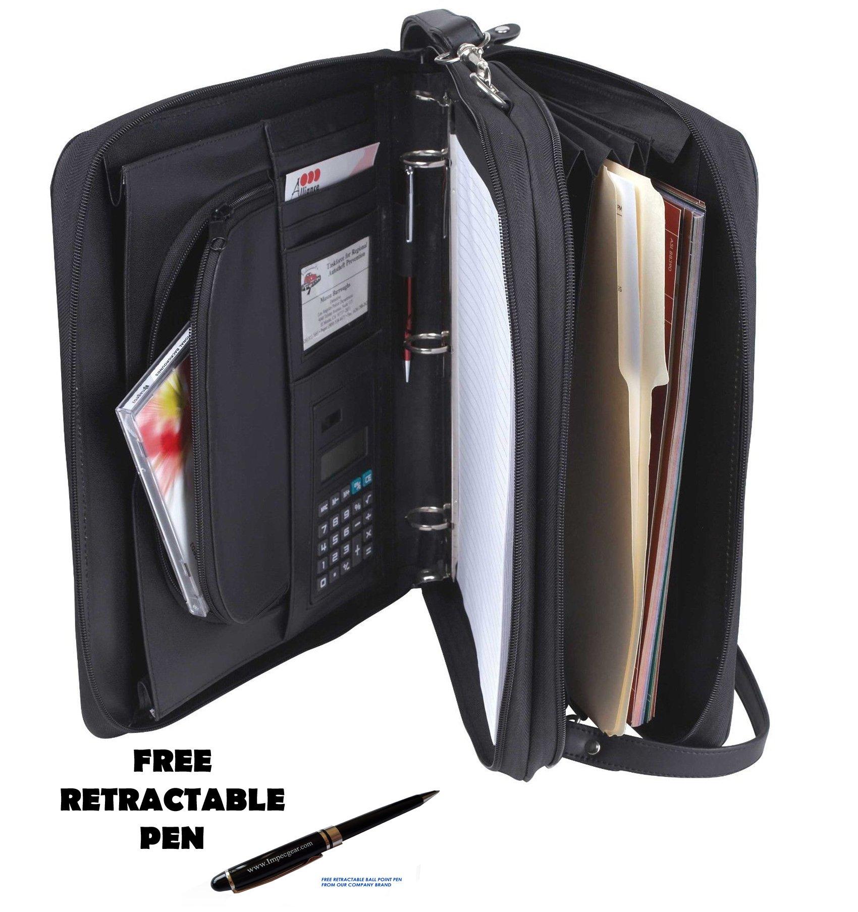 Padfolio 3-Ring Binders, Folder File Divider Organizer Planner w/Smart Handle, Briefcase Luggage Portfolio