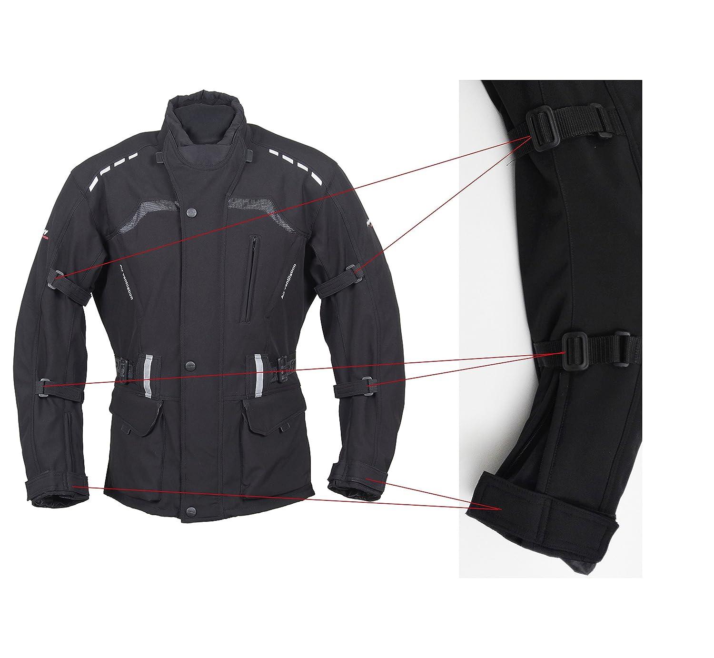 ROLEFF RACEWEAR Lange Klimamembrane und herausnehmbarem Thermofutter schwarze Motorradjacke mit Softshell Material Bel/üftungssystem Protektoren