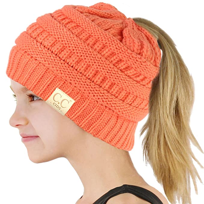 2a556e64327 Image Unavailable. Image not available for. Color  CC Kids Girls Beanietail Messy  Bun Ponytail Stretch Knit Beanie ...