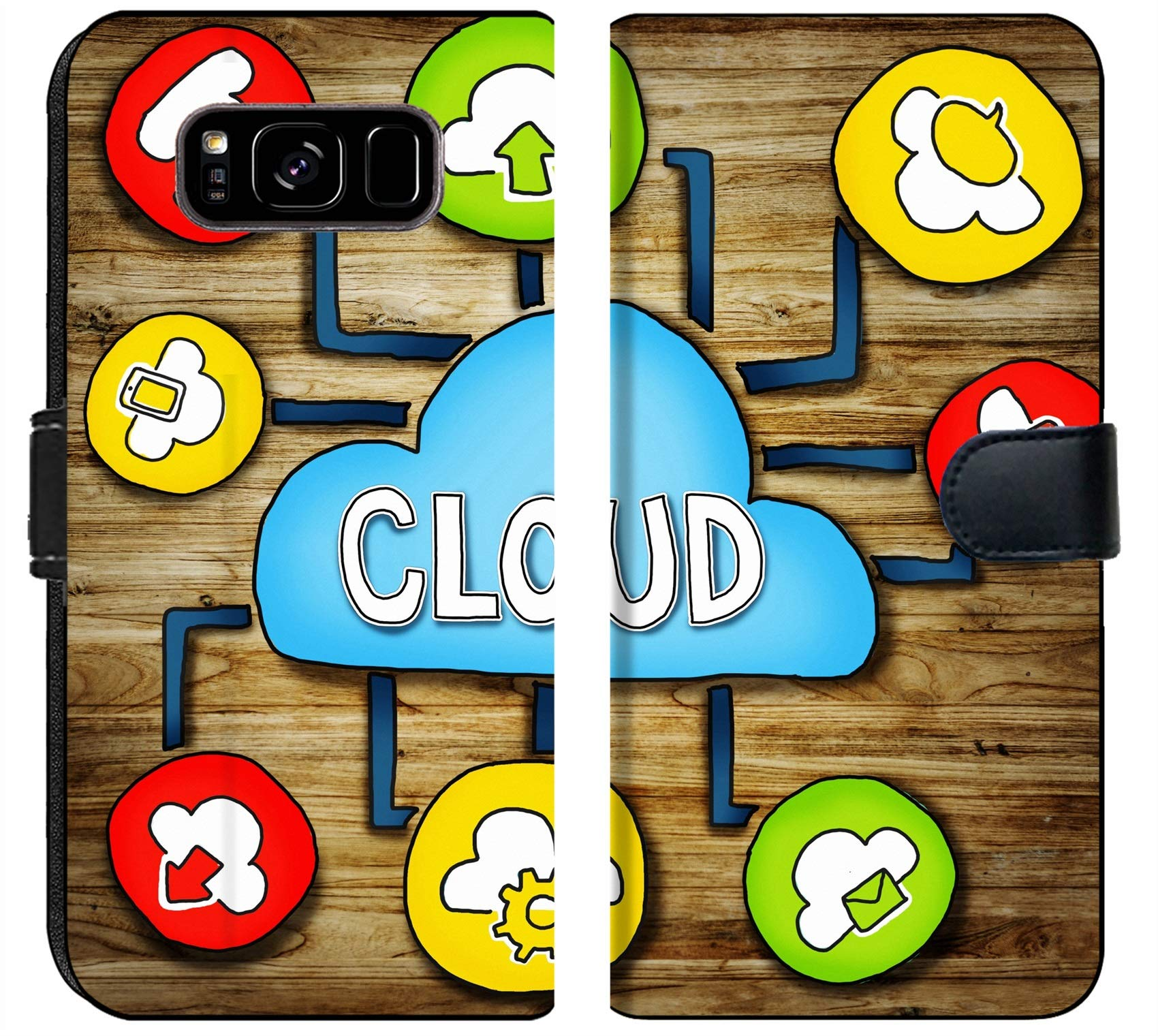Luxlady Samsung Galaxy S8 Plus Flip Fabric Wallet Case IMAGE ID: 34402076 Aerial View of People and Cloud Computing Concepts by Luxlady