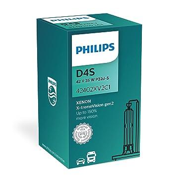 Philips - D4s, led de efecto, mezclada con habilidad para desprender luz blanca, hasta 150% más de visión 42402 x v2 c1: Amazon.es: Coche y moto