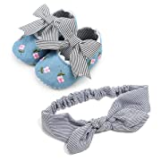 Baby Girl Shoes Mary Jane Anti-Slip Soft Sole Infant Floral Princess Crib Shoes with Headband Prewalker Dress Toddler Shoes(6-12M)