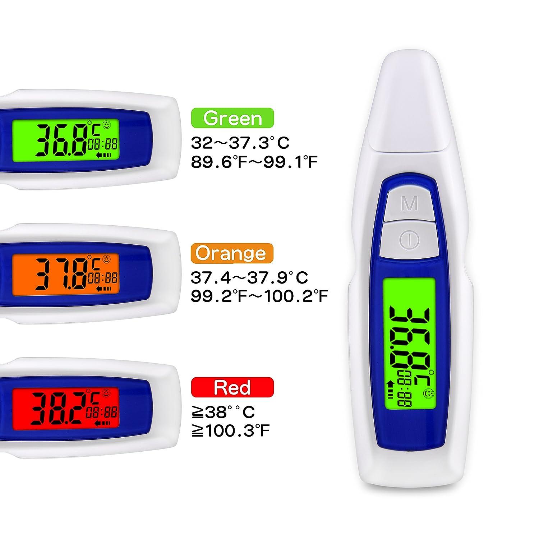 Termómetro digital de oído y frente para bebés adultos, 3 en 1 termómetro infrarrojo sin contacto con pantalla LCD retroiluminada, medición de 1 segundo, ...