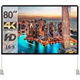 Projector Screen with Stand 80 inch Portable Projection Screen 16:9 4K HD Rear Front Projections Movies Screen with…