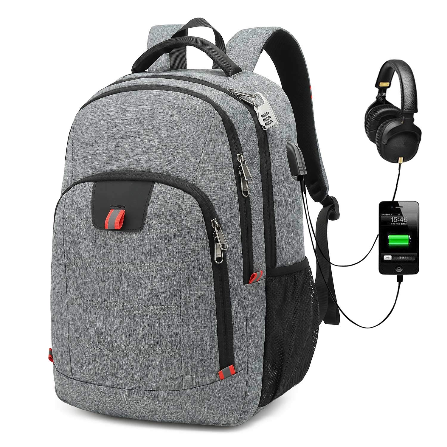 G-raphy Travel Backpack Waterproof for Laptops up to 17-inches with USB Charging Port Grey