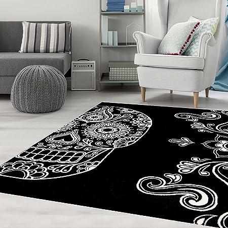 designer rug black white artistically modern skull motif teppich home black 80x150 - Teppich Design Modern