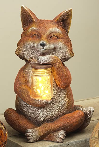 Lighted Fox, Squirrel, Or Owl Garden Statue With Jar Of Fireflies   Outdoor  Spring