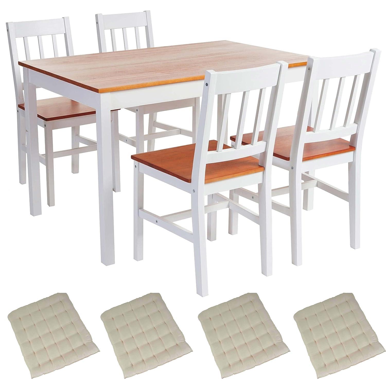 Mendler Esszimmergarnitur Harstad, Esstisch + 4 Stühle, Kiefer ...