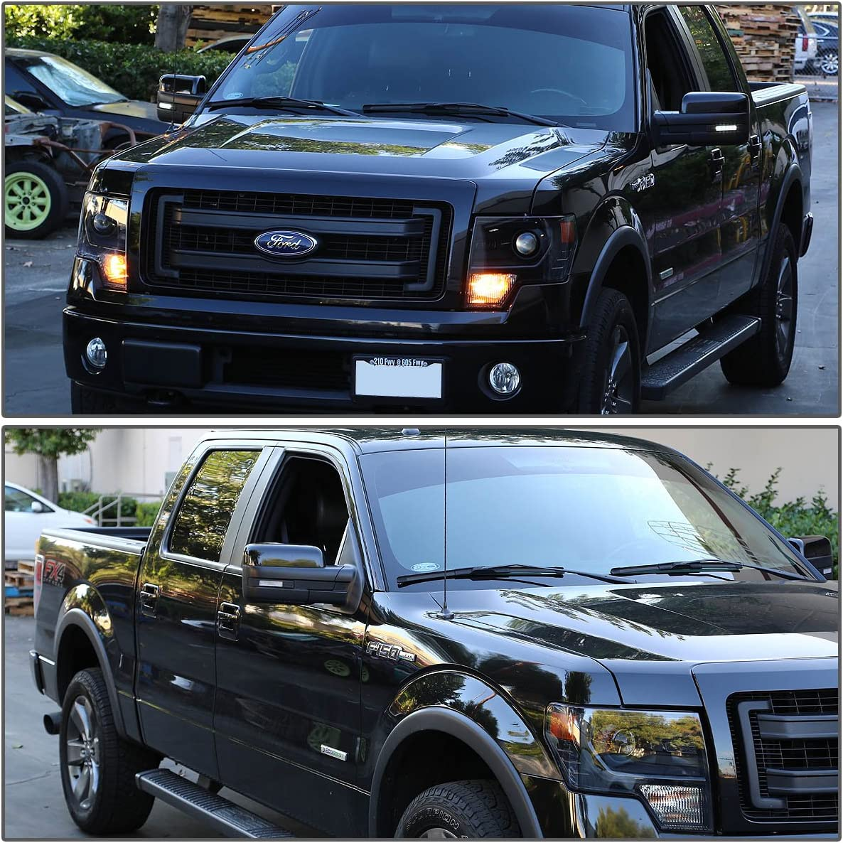 For Ford F-150 Chrome Housing Towing Side Mirror Turn Signal Light White LED