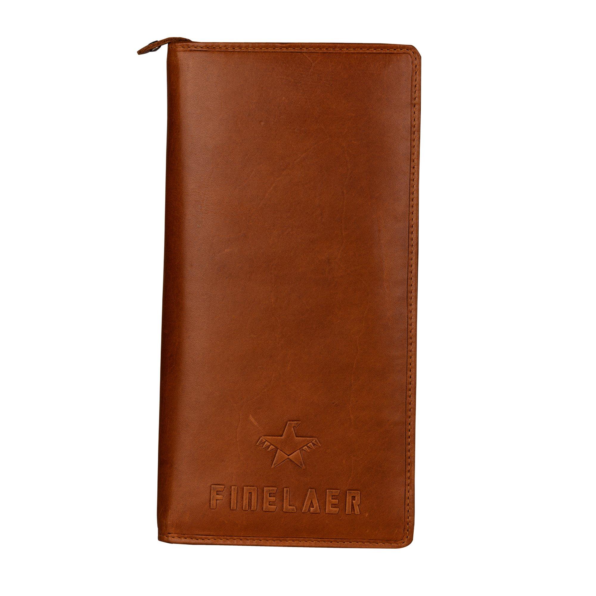 Finelaer Men Brown Leather Travel Passport Wallet