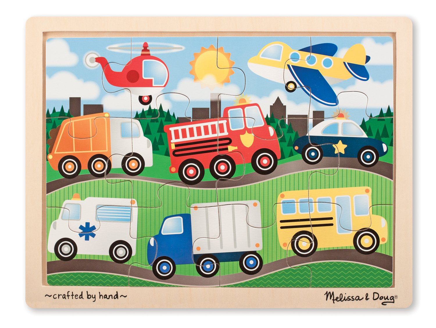 Melissa & Doug On The Road Wooden Jigsaw Puzzle With Storage Tray (12 pcs)