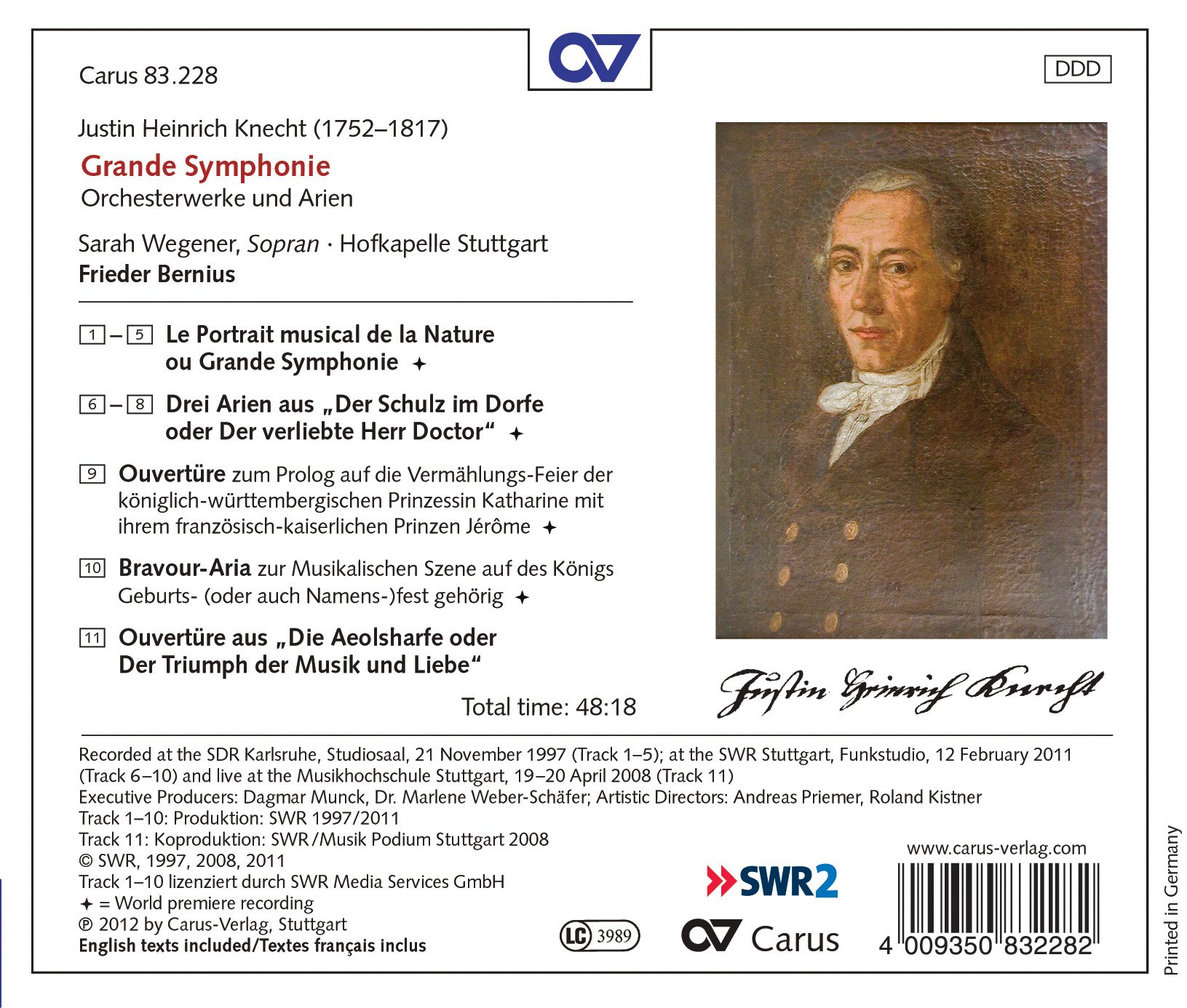 Knecht: Grande Symphonie- Orchestral Works and Arias by Carus-Verlag