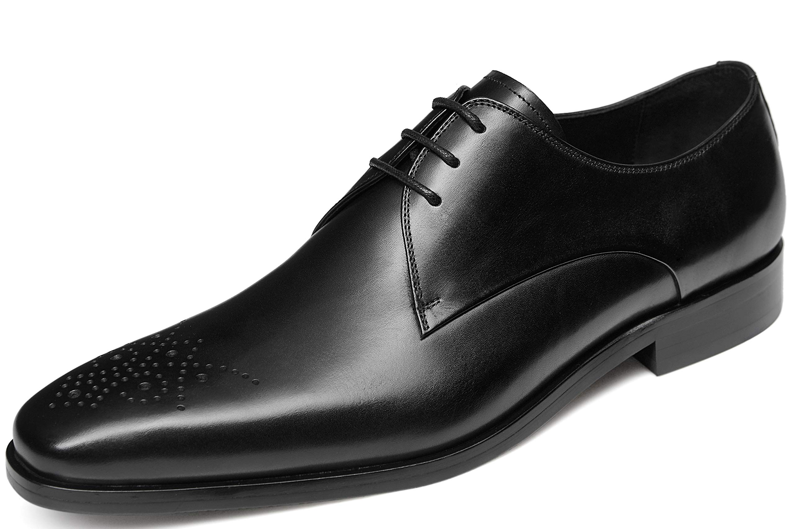 GIFENNSE Men's Dress Shoes Oxfords Leather Shoes(8.5US/Black