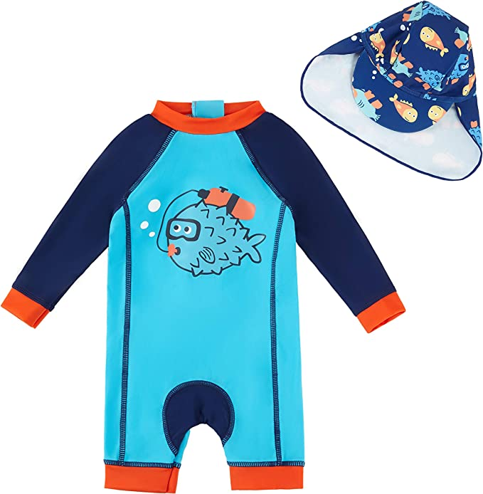 upandfast Baby Girl One Piece Swimsuit with Sun Hat UPF 50 Sun Protection Toddler//Infant Swimwear