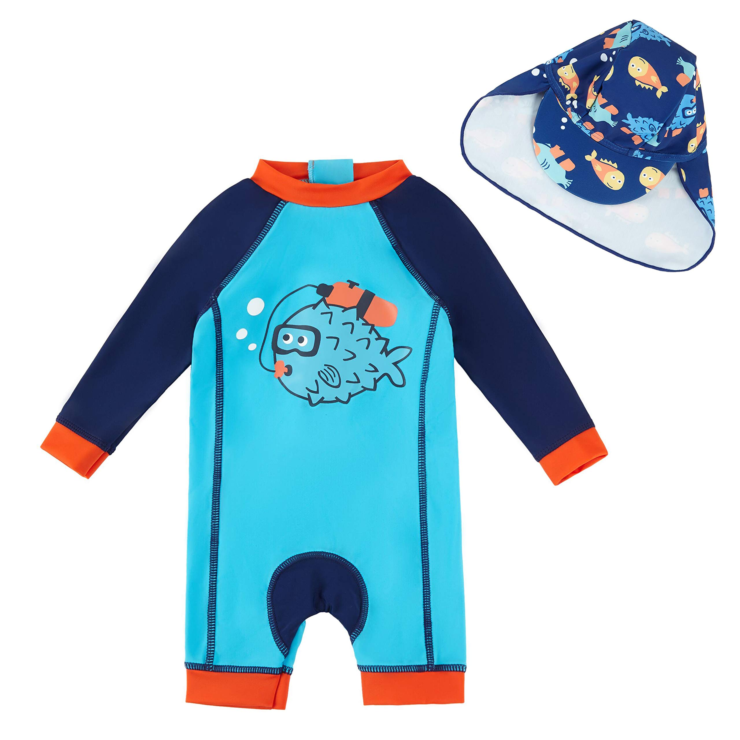 upandfast Baby Boy L/S Rashguard Baby Beach One-Piece Swimsuit(Blue,12-18 Months by upandfast