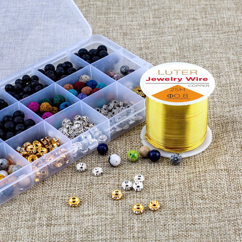 LUTER 82 Fu/ß 0.8mm Kupfer Basteldraht tr/übungsbest/ändig Schmuckperlendraht f/ür Die Herstellung von Bastelschmuck DIY 20 Gauge Gold