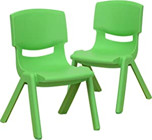 Flash Furniture 2 Pack Green Plastic Stackable School Chair with 10.5'' Seat Height