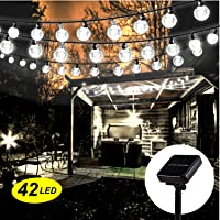 Guirnalda de luces solares para exteriores, Mr. Twinklelight®, 5,7 m, 42 luces LED de cristal, guirnalda de luces, luces impermeables decorativas para jardín, boda, patio,fiesta, etc. (color blanco)