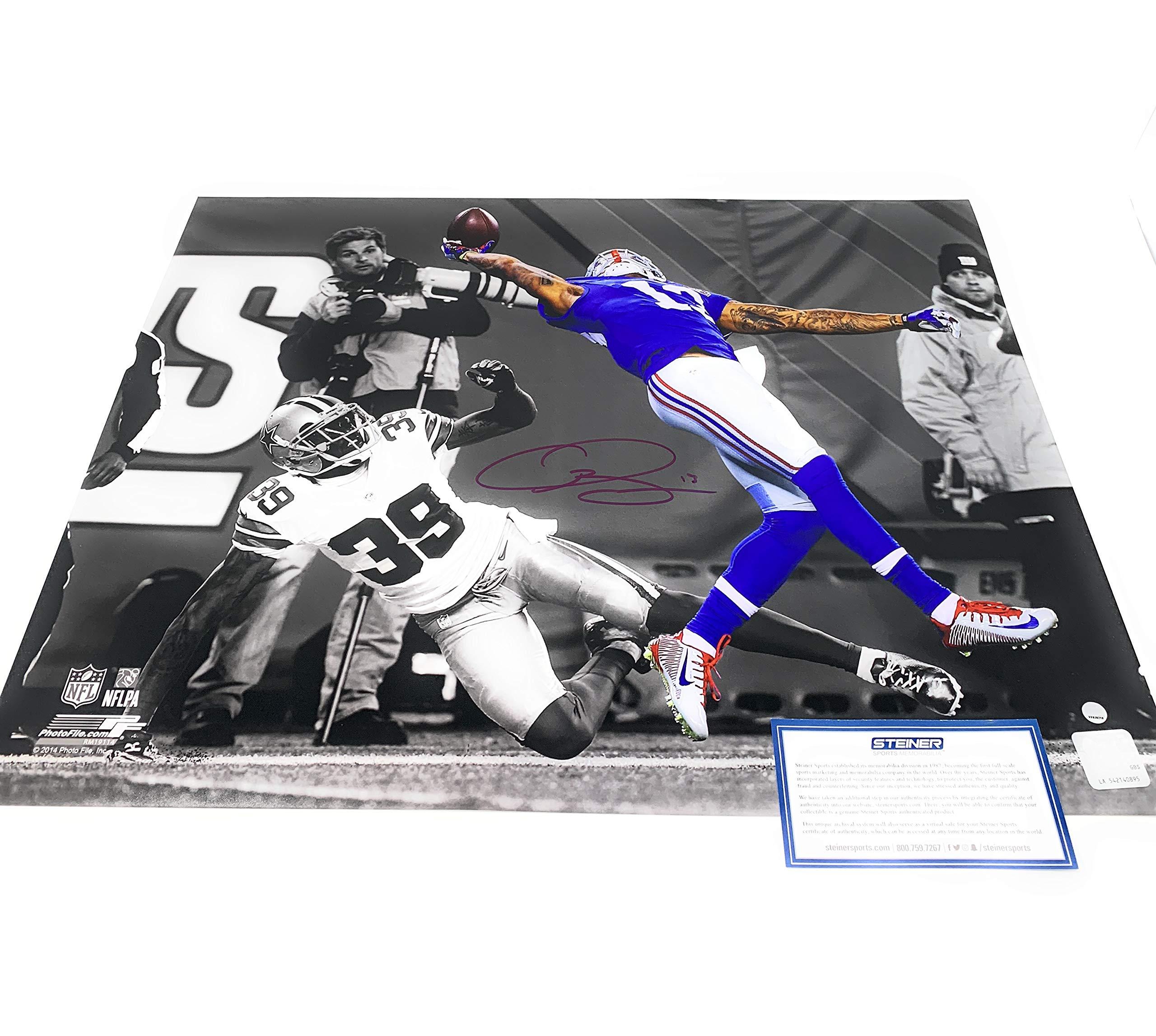 Odell Beckham Jr New York Giants Signed Autograph The Catch Spotlight 16x20 Photo Photograph Steiner Sports Certified