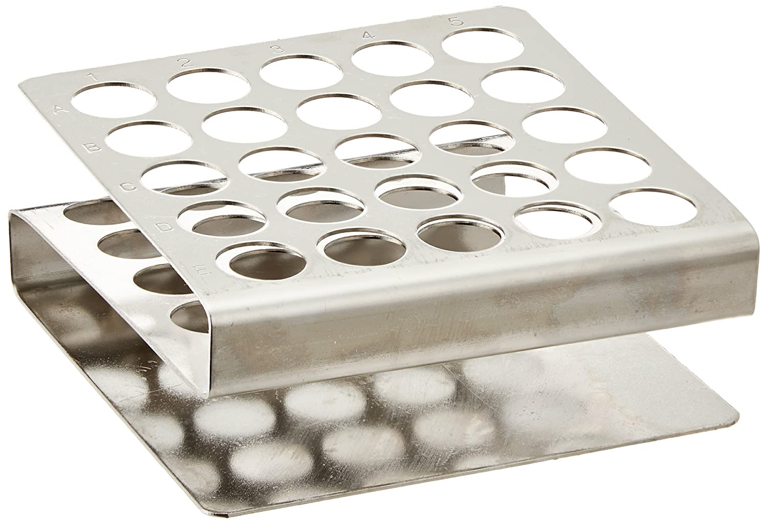 Globe Scientific 457100 Stainless Steel Z Shape Tube Rack 12//13mm Tubes 25-Place