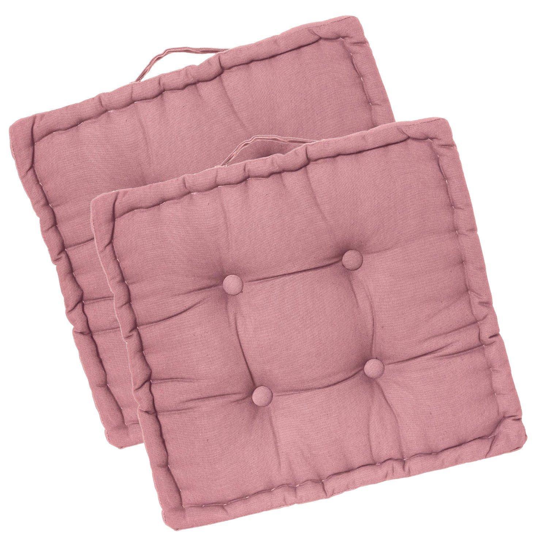 Lote de 2 cojines cuadrados para el suelo - Color ROSA PALO ...
