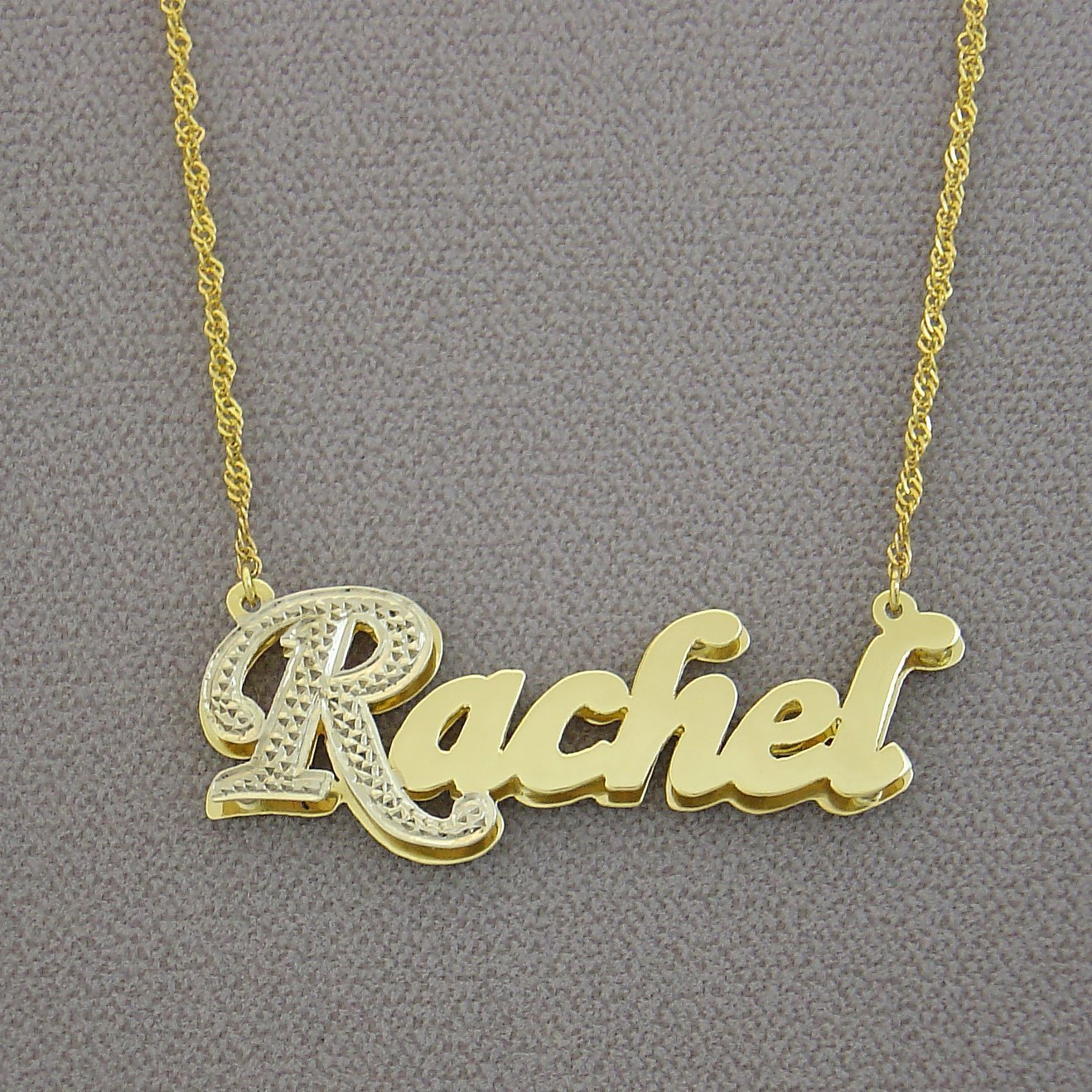 7b21cd60a1d2 Amazon.com  10K Yellow Gold Double Plates Small 3D Name Pendant Charm  Personalized Jewelry  Handmade