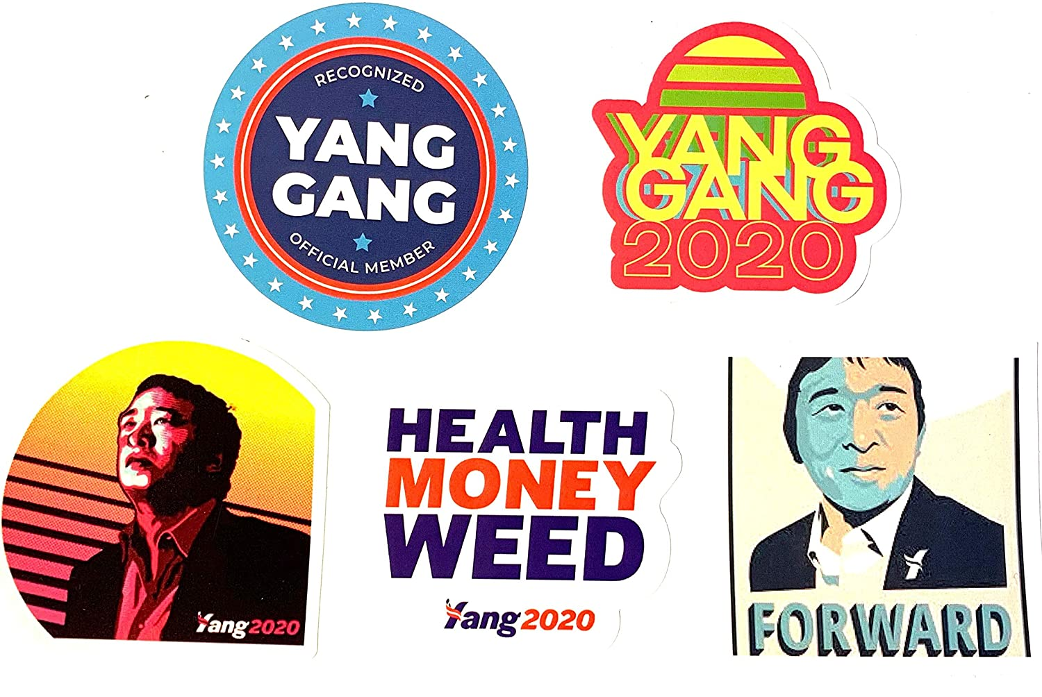 Andrew Yang 2020 Variety Sticker Pack of 5. 5 UV-Proof Laminated Stickers