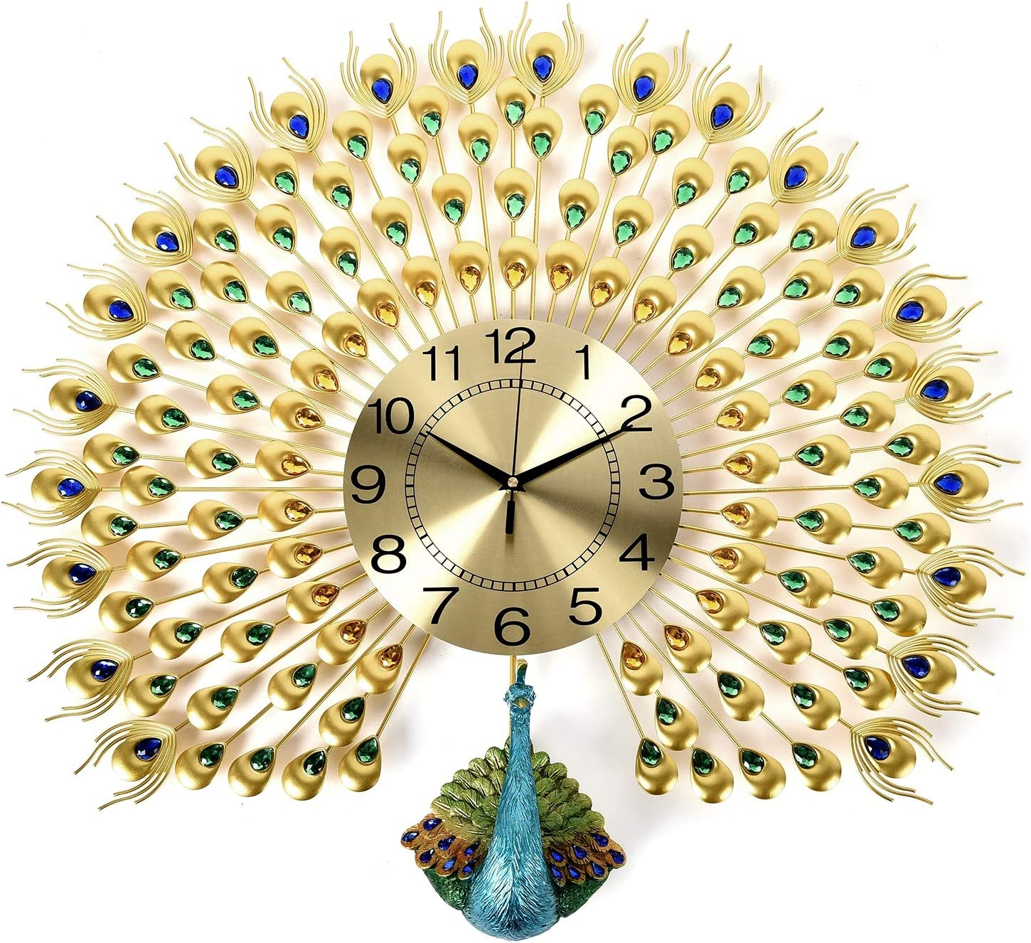 Shop LC Delivering Joy Vintage Iron Resin Room Decorative Peacock Wall Clock Analog AA Battery Operated Home Wall Decor Gifts