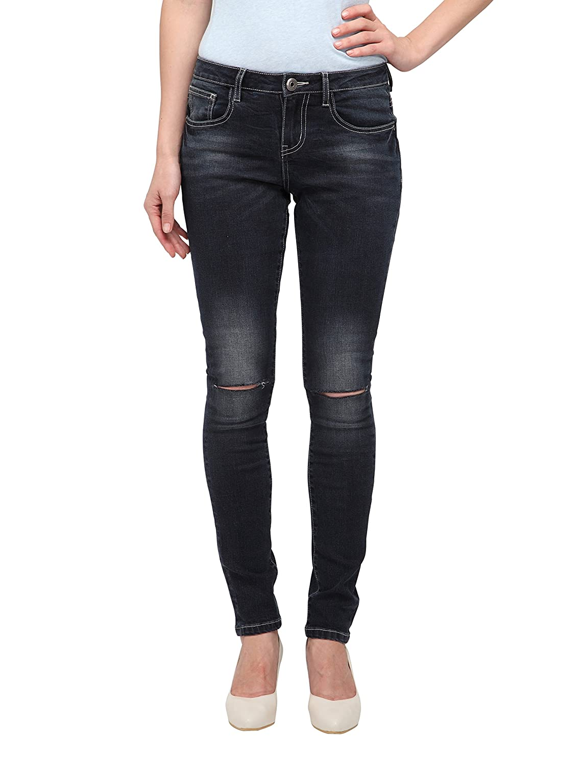 43699931aa8 The dark blue distressed skinny jean crafted with high quality skin soft