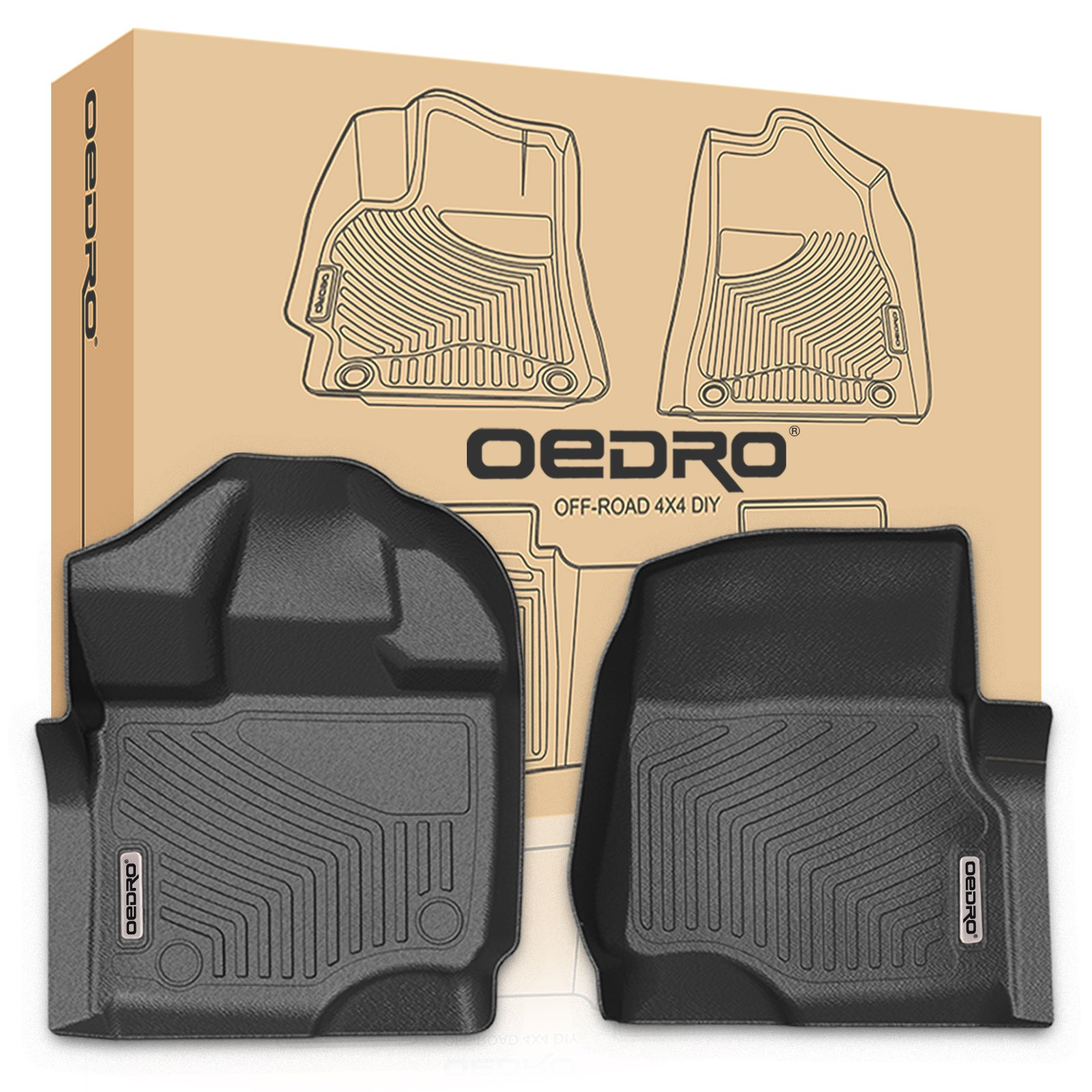 oEdRo Front Floor Mats Liners Compatible for 2015-2019 Ford F-150 SuperCrew Cab - Unique Black TPE All Weather Guard (1st Row Driver/Passenger Only)