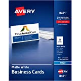 "Avery 2"" x 3.5"" Business Cards, Sure Feed Technology, for Inkjet Printers, 1,000 Cards (8471), Matte White"