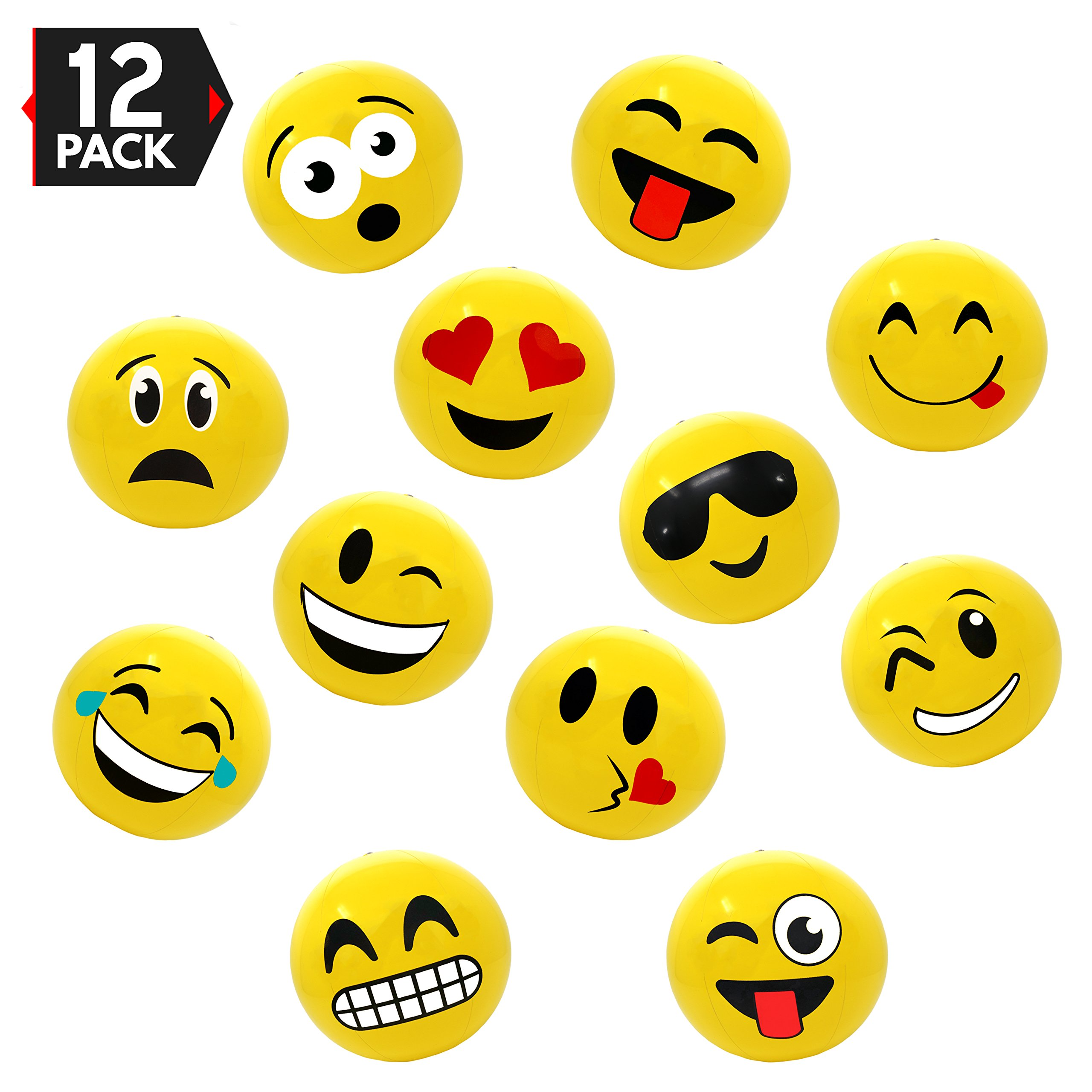 16'' Emoji Party Pack Inflatable Beach Balls - Beach Pool Party Toys (12 Pack) by Big Mo's Toys