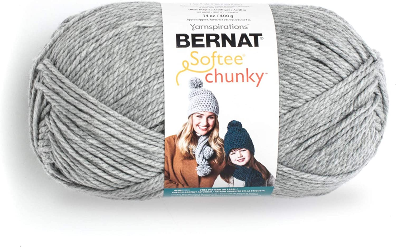 Bernat Big Ball Chunky Solid Yarn, 14 oz, Gauge 6 Super Bulky, 100% Acrylic, Grey Heather