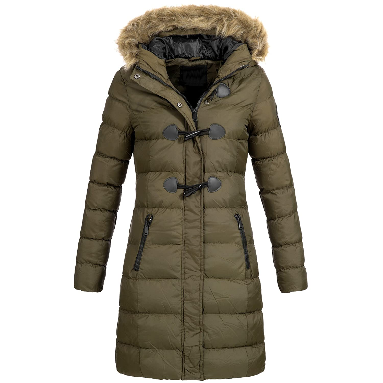 AZ Fashion Damen Steppmantel Winter Mantel Parka Jacke warm S XXL AZ29 4 Farben
