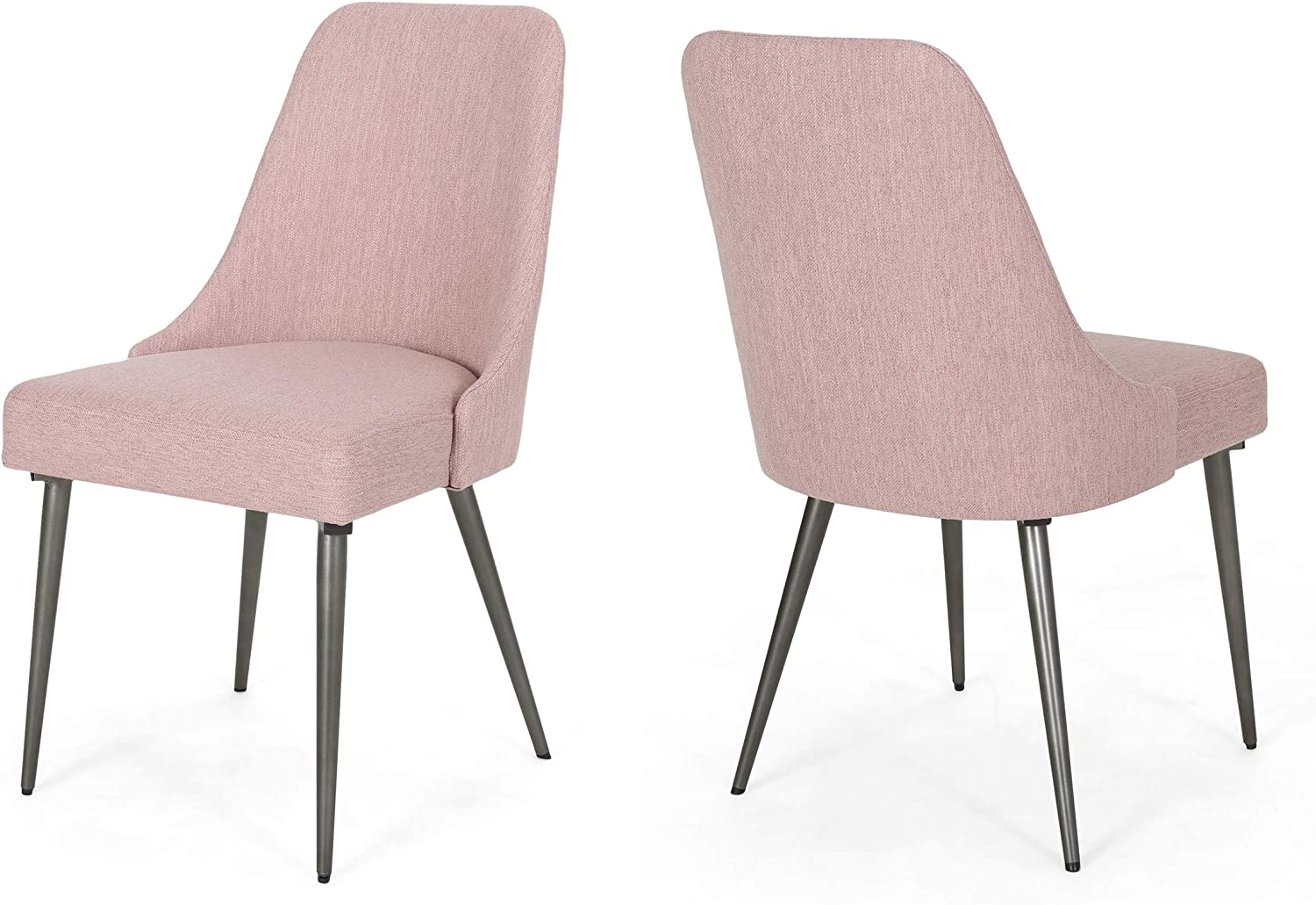 Christopher Knight Home 308238 Dawn Modern Fabric Dining Chairs (Set of 2), Light Blush