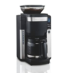Hamilton Beach 45400 12 Cup Programmable Coffee Maker, Automatic Grounds Dispensing for Pre-Ground Coffee, Black