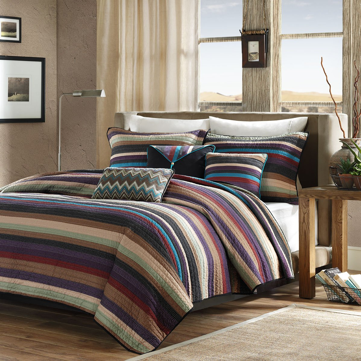 Madison Park Yosemite Full/Queen Size Quilt Bedding Set - Purple Yellow Teal, Striped – 6 Piece Bedding Quilt Coverlets – Cotton Bed Quilts Quilted Coverlet