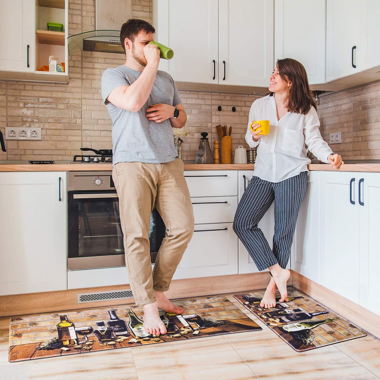 """Delxo Kitchen Rug Sets,2 Piece Anti-Fatigue Floor Mat Waterproof Non-Slip Standing Mat Ergonomic Comfort Floor Mat Rug for Home,Office, 18""""x47"""" +18""""x30"""" (Wine Bottle)"""