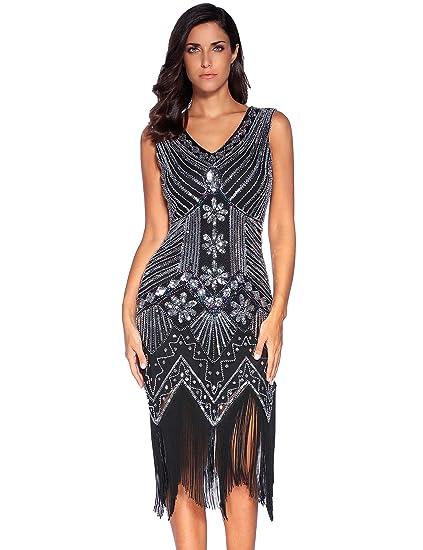 a7489a872238a Meilun 1920s Sequined Vintage Dress Beaded Gatsby Flapper Evening Dress Prom