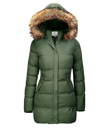 18d7059c3 WenVen Women's Winter Thicken Puffer Coat with Fur Trim Removable Hood