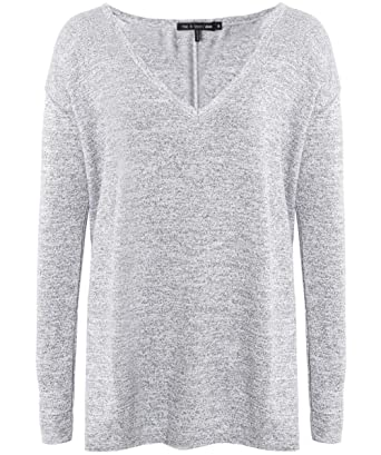 45e9d1776a2e8f Rag and Bone Women's Theo Long Sleeve Top Light Grey at Amazon Women's  Clothing store: