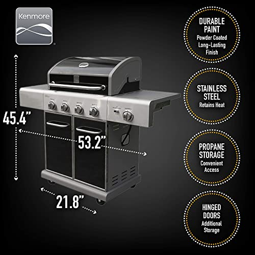 Kenmore PG-40409S0LB-AM Outdoor Patio 4 Gas BBQ Propane Grill with Side Burner, Black