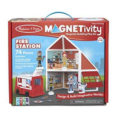 Melissa & Doug Magnetivity Magnetic Tiles Building Play Set – Fire Station with Fire Truck Vehicle (74 Pieces, STEM Toy): Toys & Games