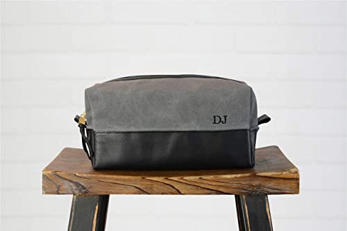 Personalized Leather Travel Toiletry Bag Dopp Kit for Men Monogrammed Customized