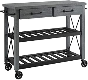 Crosley Furniture CF3008-GY Roots Rack Industrial Rolling Kitchen Cart, Grey