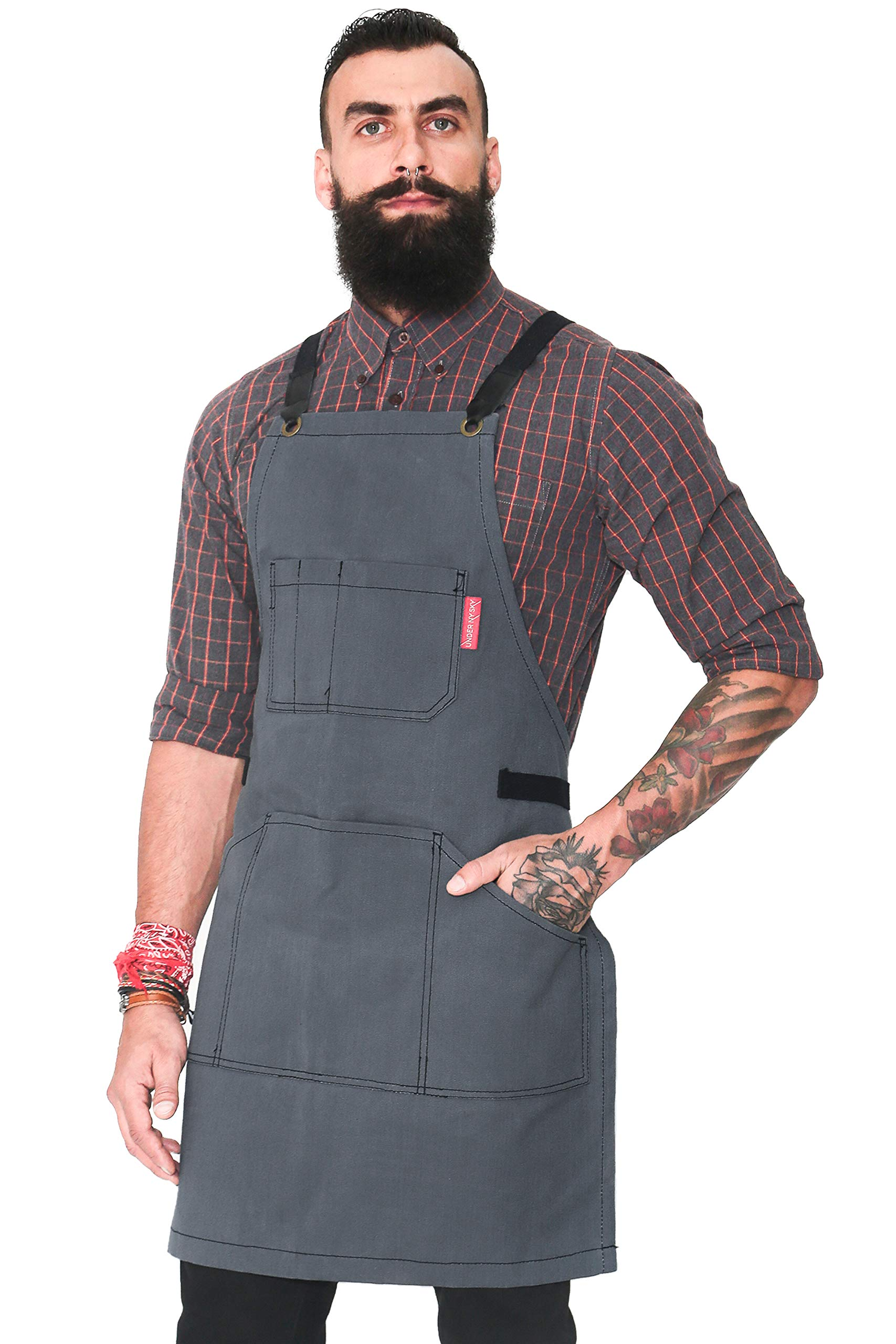 Under NY Sky Essential Gray Apron – Heavy Duty Waxed Canvas, Cross-Back with Split-Leg, Leather Reinforcement – Adjustable for Men and Women, Pro Mechanic, Welding, Woodwork, Blacksmith, Server Aprons