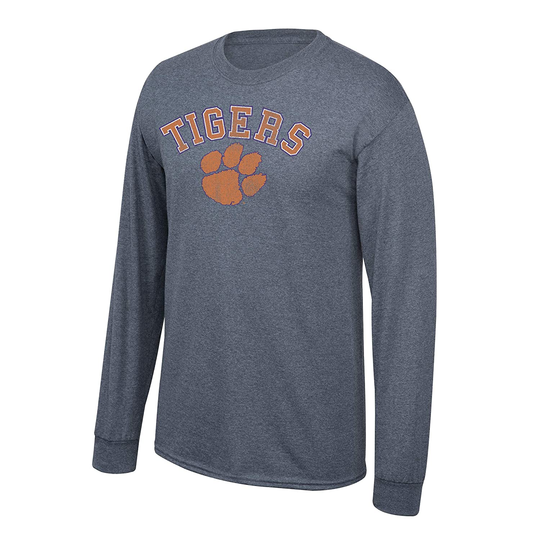 Elite Fan Shop NCAA Mens Clemson Tigers Long Sleeve T Shirt Charcoal Vintage Clemson Tigers Charcoal X Large